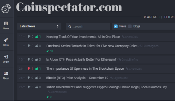 Coinspectator crypto news aggregator