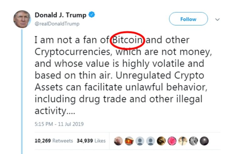 Image result for trump bitcoin tweet