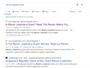 Google Results Bitcoin Loophole Scam