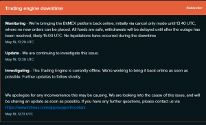 Bitmex status Downtime