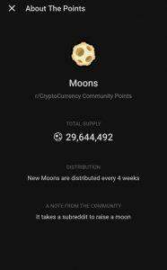 Moon tokens circulating supply