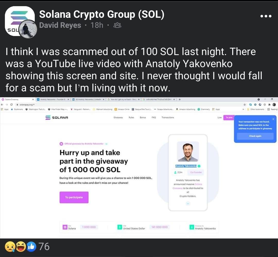 Solana Pay Scam victim