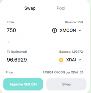 Swapping xMOON for xDai